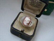 VINTAGE SOLID STERLING SILVER CAMEO INTAGLIO SIGNET RING SIZE W 11 UNUSUAL RARE