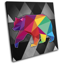 Bright Colourful Bear Animals SINGLE CANVAS WALL ART Picture Print