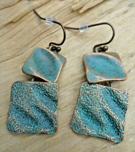 Squares Hammered Copper Effect & Turquoise Antique Style Hook Earrings 3cmx1.5cm