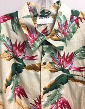 Cintas Hawaiian Shirt Tropical Floral Fronds Hawaiian Fauna 2XL Great Condition