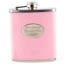 Personalised Engraved Pink Ladies Hip Flask - 7oz. Women's Bridesmaid Gift Mum