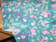 Remnants Liberty or Laura Ashley cotton lawn blue purple poppies on green