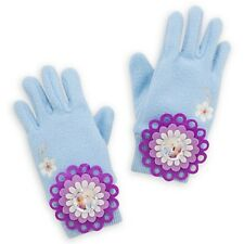 DISNEY STORE ANNA & ELSA GLITTERING ICY BLUE FLEECE KNIT GLOVES XS/S 3-6 YRS NWT