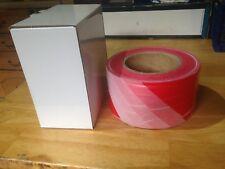 Barrier and Hazard Safety Warning Tape Red & White 500 Metre Long 72mm Width
