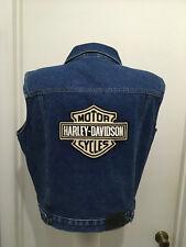 Harley Davidson Womens  Denim Vest Embroidered Logo Blue  Metal Button L  14/16