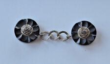Antique Art Deco handmade black bakelite flower carving belt buckle with chain