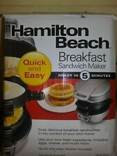 Breakfast Sandwich Maker by Hamilton Beach 2475, Silver/Black New in Box