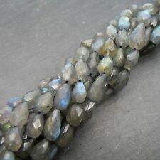 "LABRADORITE SFACCETTATA TOP uniforme DROP Beads 15 ""Strand"