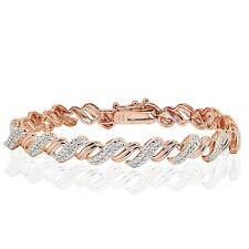 18K Rose Gold Tone 0.10ct TDW Natural Diamond San Marco Tennis Bracelet in Brass