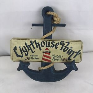 Wooded Lighthouse Point Anchor Sign by Linda S. Stang (A7)