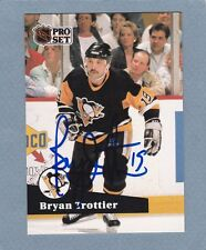 1991 PRO SET BRYAN TROTTIER AUTO SIGNED CARD PITTSBURGH PENGUINS RARE
