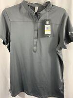 Women's Under Armour Loose Heat Gear Gray Shirt Size Medium 1/4 Button $55