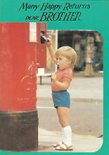 Happy Birthday Brother Vintage 1970's Greeting Card ~ Royal Mail Postbox