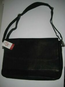 Piel Leather Black Laptop Messenger Crossbody Professional Commuter Bag 2360