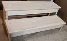 "24"" WOODEN WIDE PLAIN SKIRT 2 STEP STOOL PINE WOOD UNFINISHED"