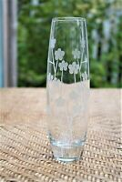 """Vintage Clear Glass 7.5"""" Flower Bud Vase with Etched Flower"""