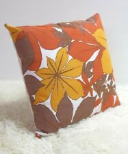 "Original Retro Fabric Cushion Cover 60s/70s 16x16"" Vintage Yellow Brown"