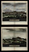 Seville Spain Espana 1715 van der Aa city view x 2 prints engraved hand color.