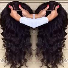 TOP 100% Malaysisch Echthaar Perücke Gewellt Spitzenfrontseite Human Hair Wig 1B