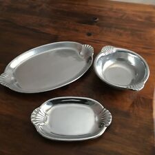 Wilton Armetale Scallop Handle Oval Tray, Buffet Tray and Oval Bowl