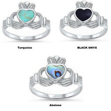 Irish Claddagh Heart  Turquoise Black Onyx Abalone 925 Sterling Silver Ring