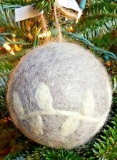 Hallmark Set of 3 Gray Wool Christmas Tree Ornaments Balls Rustic Decor
