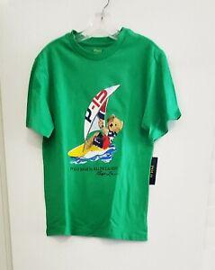 Polo Ralph Lauren Little Boys Windsurfing Bear Cotton T Shirt Green Sz L - NWT