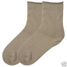 K.Bell Khaki Beige Relaxed Loose Roll Top Crew Ladies Socks Great For Diabetics