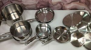 CUISINART  Stainless Steel 14-pc. Cookware Set, Some New, Others Gentle Use