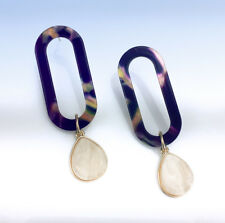 BAUBLEBAR Gold-Tone TEREZA Multi Marbled Acrylic Oval Hoop Drop EARRINGS