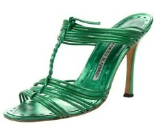 NEW Manolo Blahnik HIDA Metallic Leather Slides Mules Heels Green Shoes 37 37.5