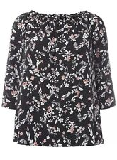 Evans Black Floral Print Bardot Top UK 18 EU 46 LN097 RR 13