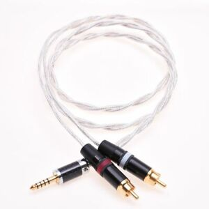 4.4mm Male to RCA Male Crystal Clear Shield Extension Cable For iFi Sony 4.4mm