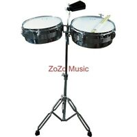 NEW GP PERCUSSION CHROME TIMBALE DRUM SET WITH STAND, COWBELL, STICKS & DRUM KEY