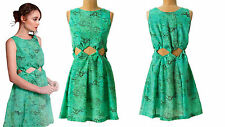 $194 Anthropologie Waist Watcher Mini Dress 10 12 Large Cutouts Fit n Flare NWT