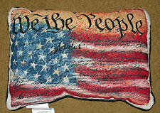 We The People ~ American Flag Tapestry Pillow