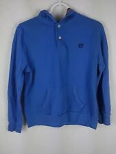 Chaps Boy's sz L 14-16 Solid Blue Cotton Long Sleeve Hooded Polo Shirt