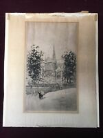 Henri Le Riche (France, 1868 - 1941) Original Limited Edition Etching, Cathedral