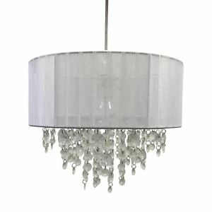 White Jewelled Easy Fit Ceiling Light Shade Pendant 30cm Drum Lightshade