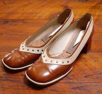 Vintage 1940s Brown Leather Handmade Chunky Heels High Heel Pumps Shoes 7-7.5