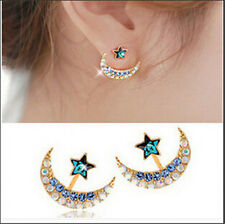 1 Pair Elegant Fashion Women Lady Luck Star Crystal Rhinestone Ear Stud Earrings