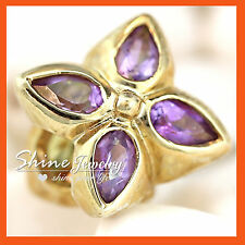 REAL 9CT SOLID GOLD NATURAL Amethyst Peridot Citrine TRILOGY CHARM PENDANT GIFT
