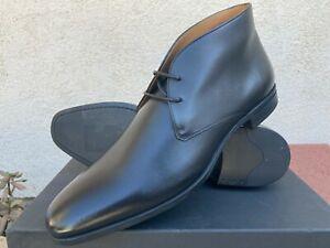 Hugo Boss Men's Black Leather Chukka Dress Boots US12 EU 45 Made in Italy NIB