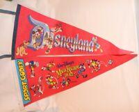 Vintage Disneyland and World Wall Pennant Flag Mickey Minnie Pluto Donald Duck