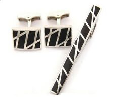 Silver & Black Stripe Cuff Links & Tie Clip Set Cufflinks  Formal Business Dress