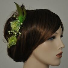 2 Pcs Hair Clip Green Buttonhole flower beads feathers rhinestone green flowers