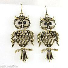 Womens Cute Bronze Alloy Metal Owl Linked Dangle Drop 5CM Earrings Vintage Style