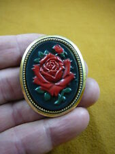 (cred-52) RED rose long stemmed flower black oval lady CAMEO brass Pin Pendant