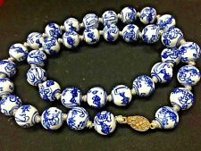 VTG CHINESE HAND KNOTTED BLUE/WHITE BEADED NECKLACE~Chinese Silver Clasp