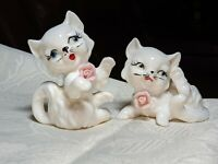 Vintage Pair Of White Porcelain Cat Figurines Blue Eyes And Pink Rose Collars